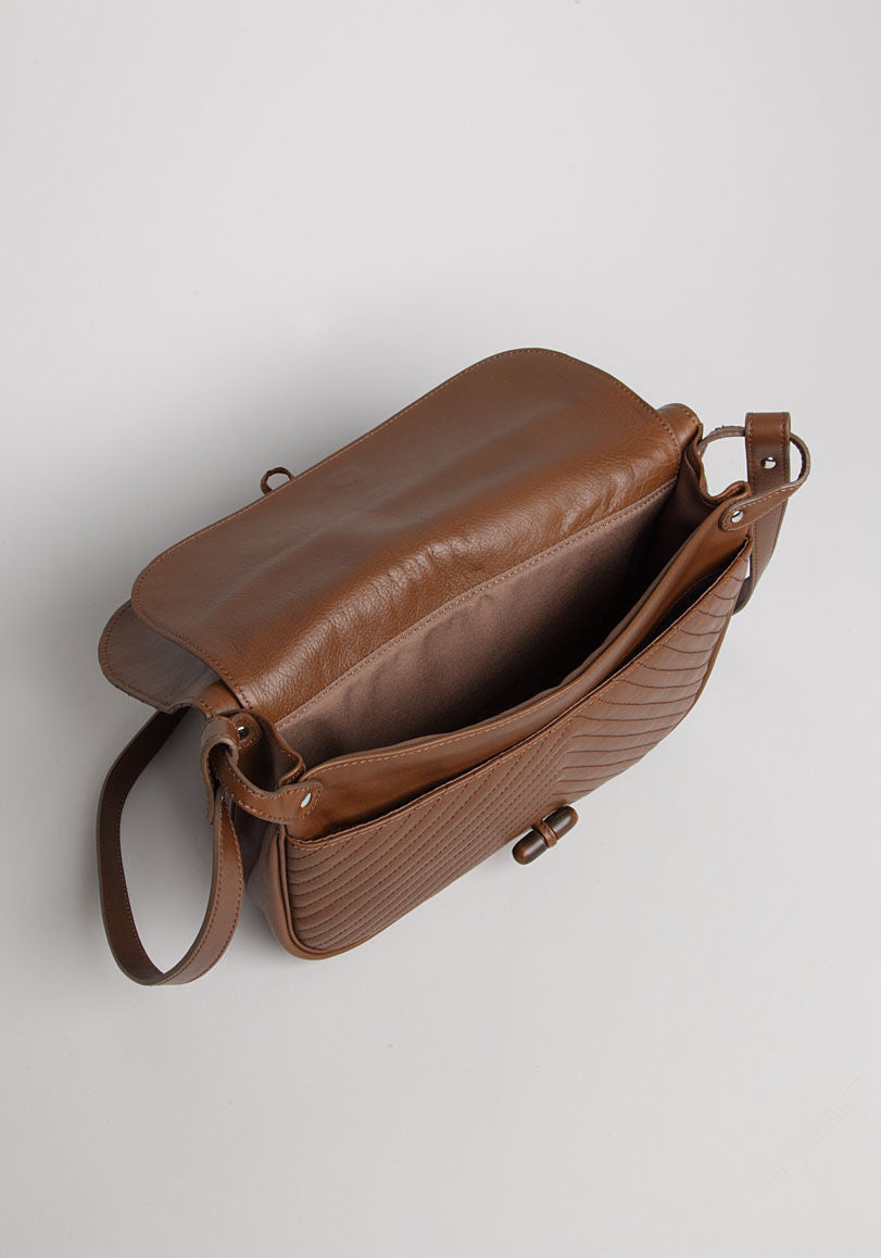 Topstitched Shoulder Bag