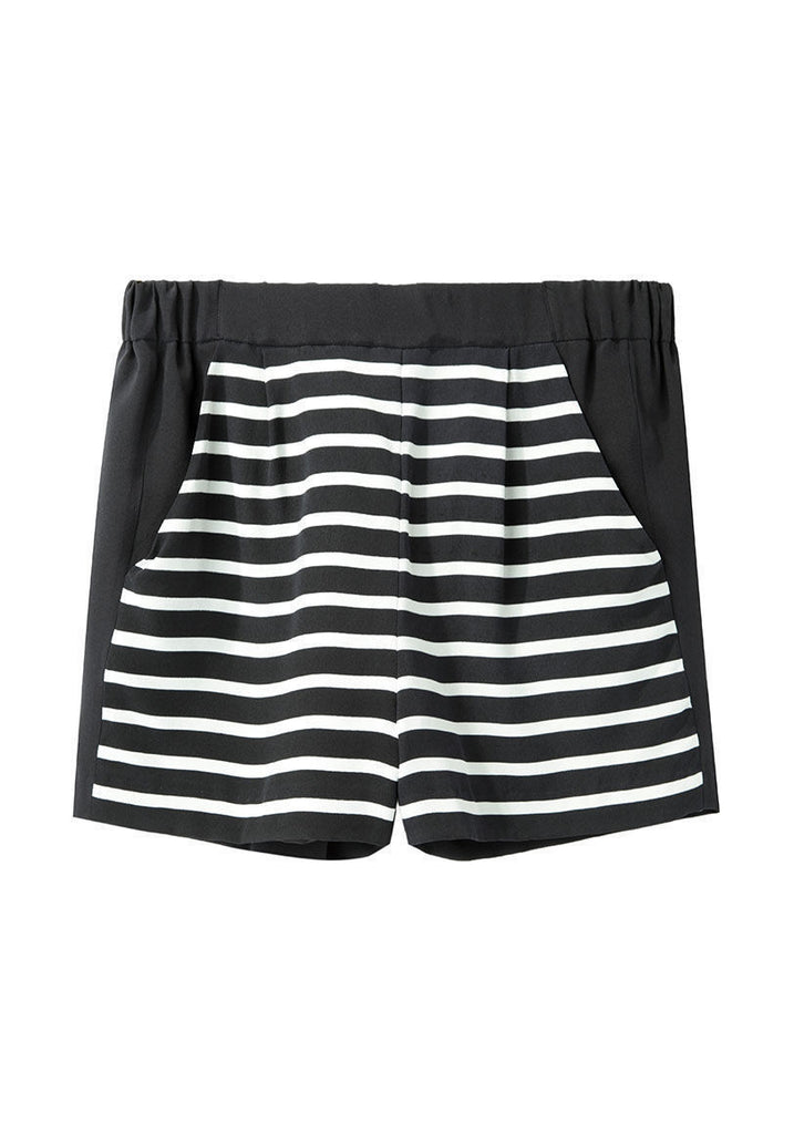Stripe Front Silk Shorts - CANCELED