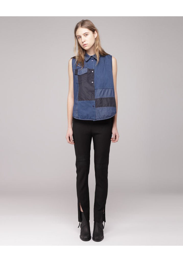 Prima Patch Sleeveless Button-Up