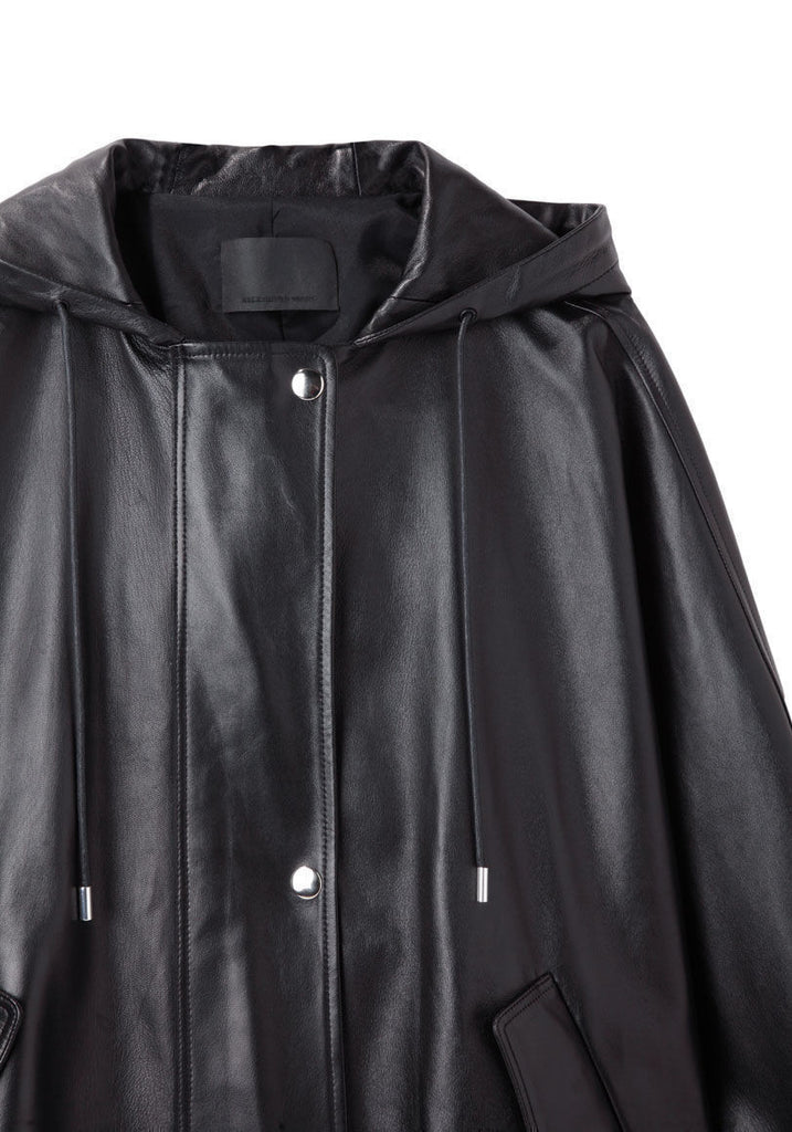 Hooded Leather Parka