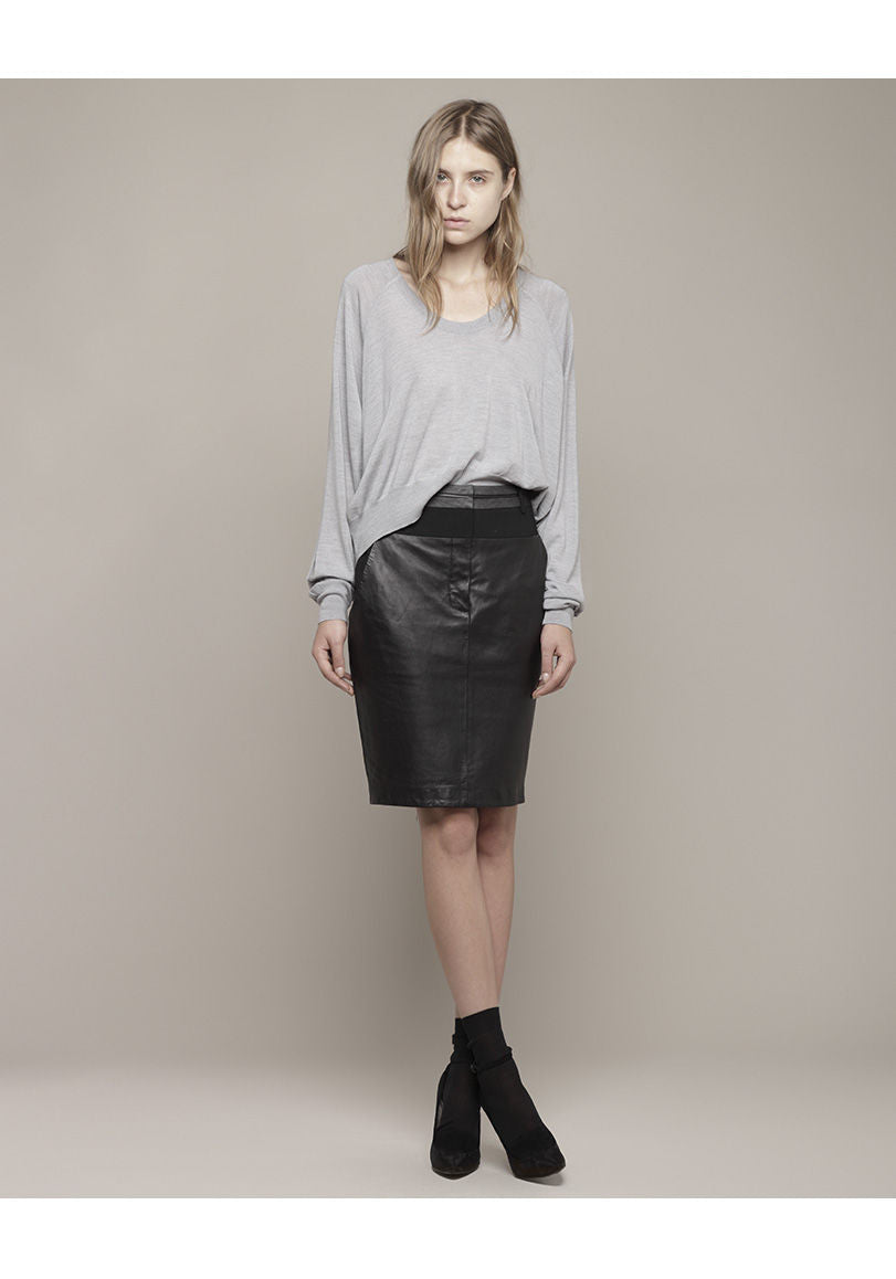Leather Panel Skirt