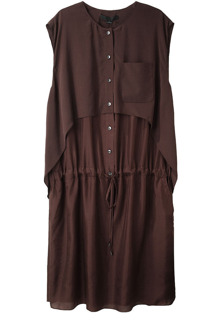 Silk Shirtdress w/ Overlay