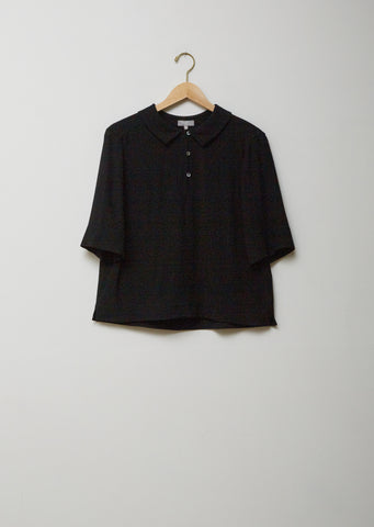 Silk Wool Crepe Polo Shirt