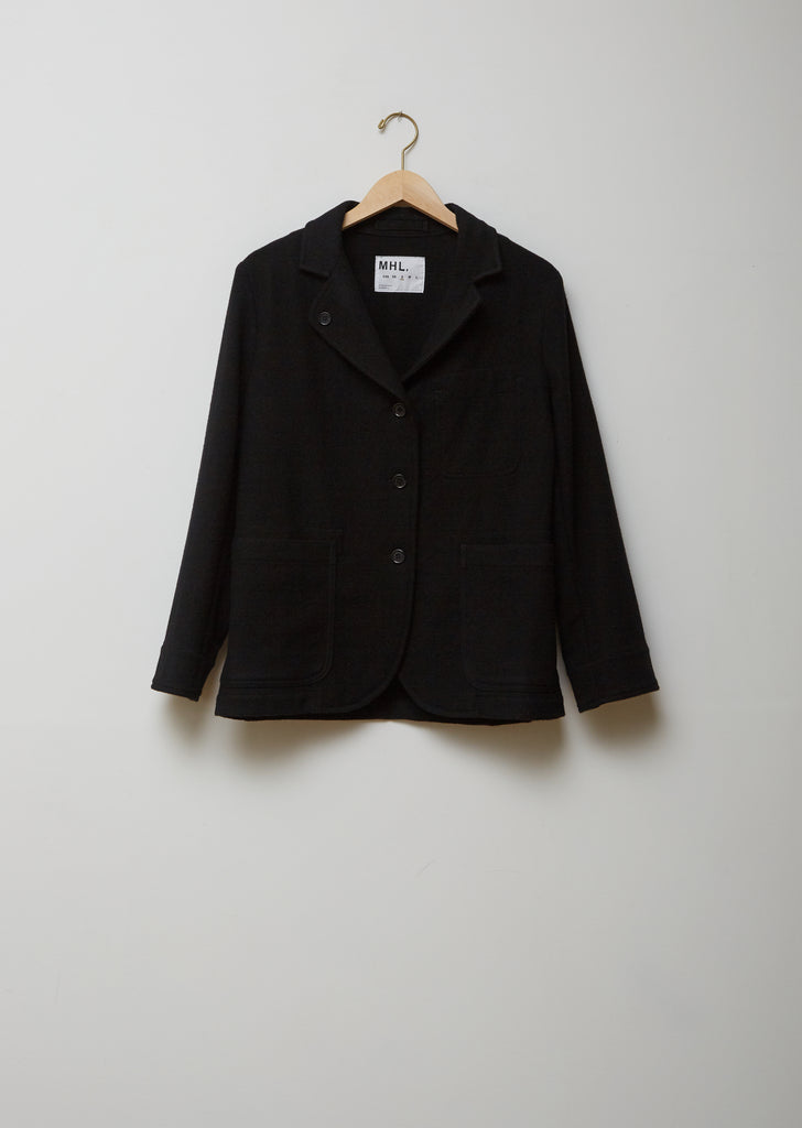 Asymmetric Collared Wool Blazer