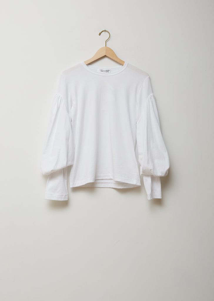 Cotton Jersey Large Puff Sleeve Top