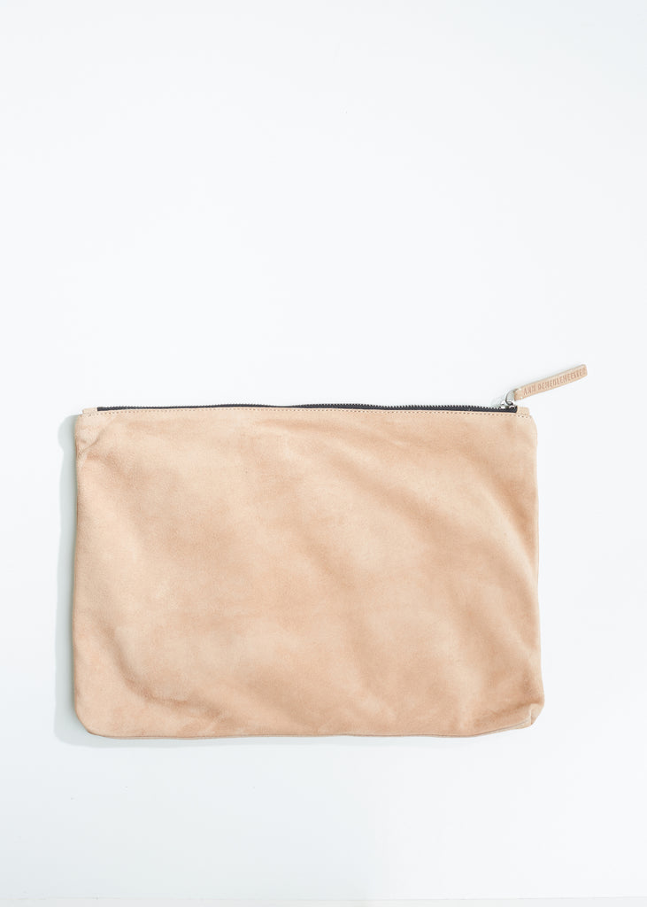 Large Suede Zipper Pouch