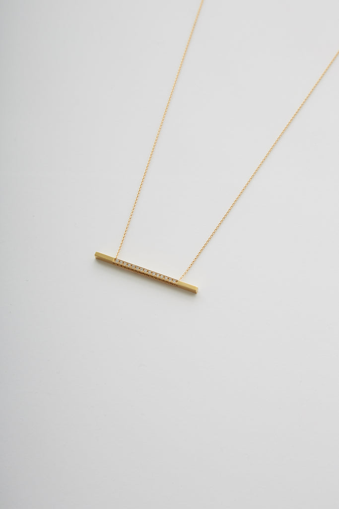 18K Bar Necklace 05 with Diamond — 750mm