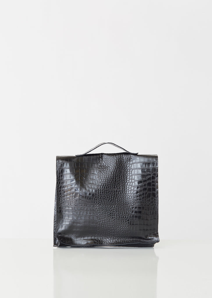 Snake Print Leather Briefcase