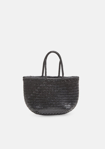 Grace Woven Leather Basket Bag