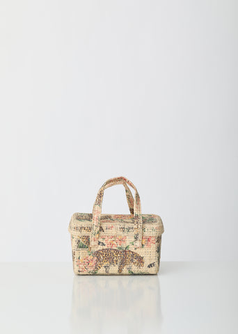 Picnic Raffia Bag With Tiger Print