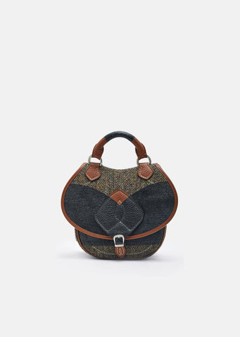 Tweed Grained Leather Saddle Bag