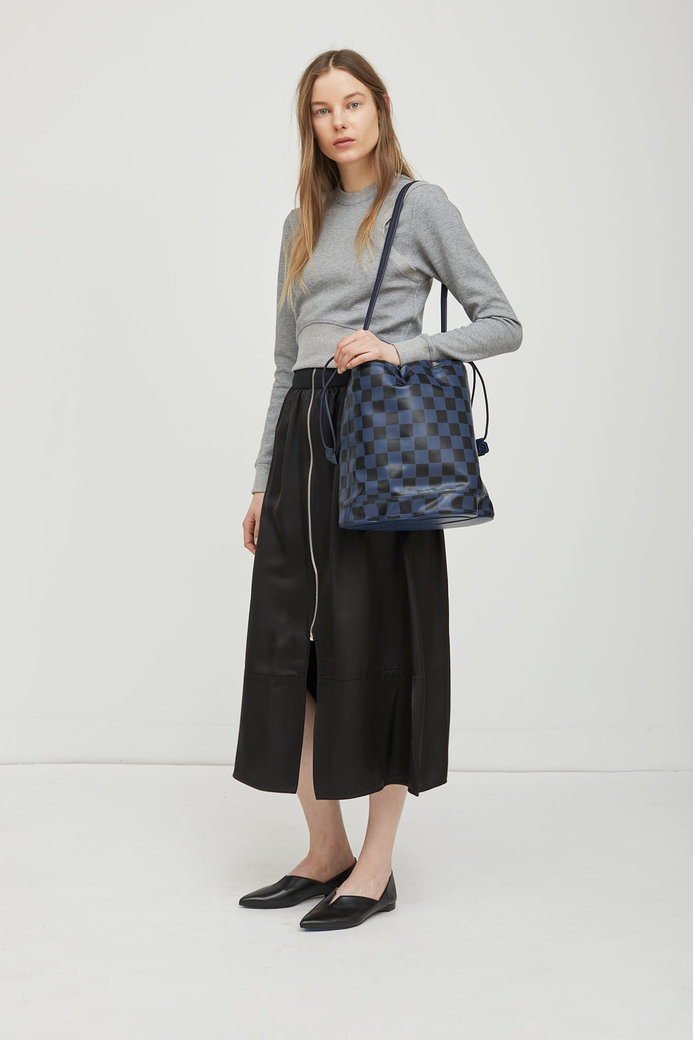 Checkerboard Cloud Medium Pouch Bag