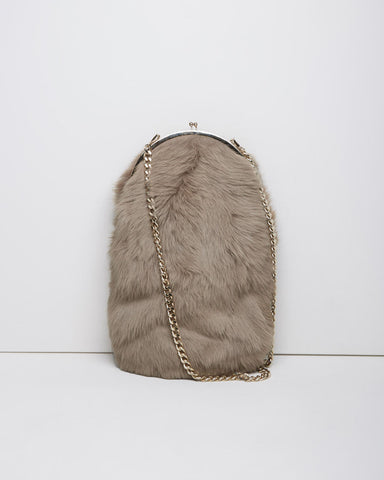 Large Shearling Kisslock Purse