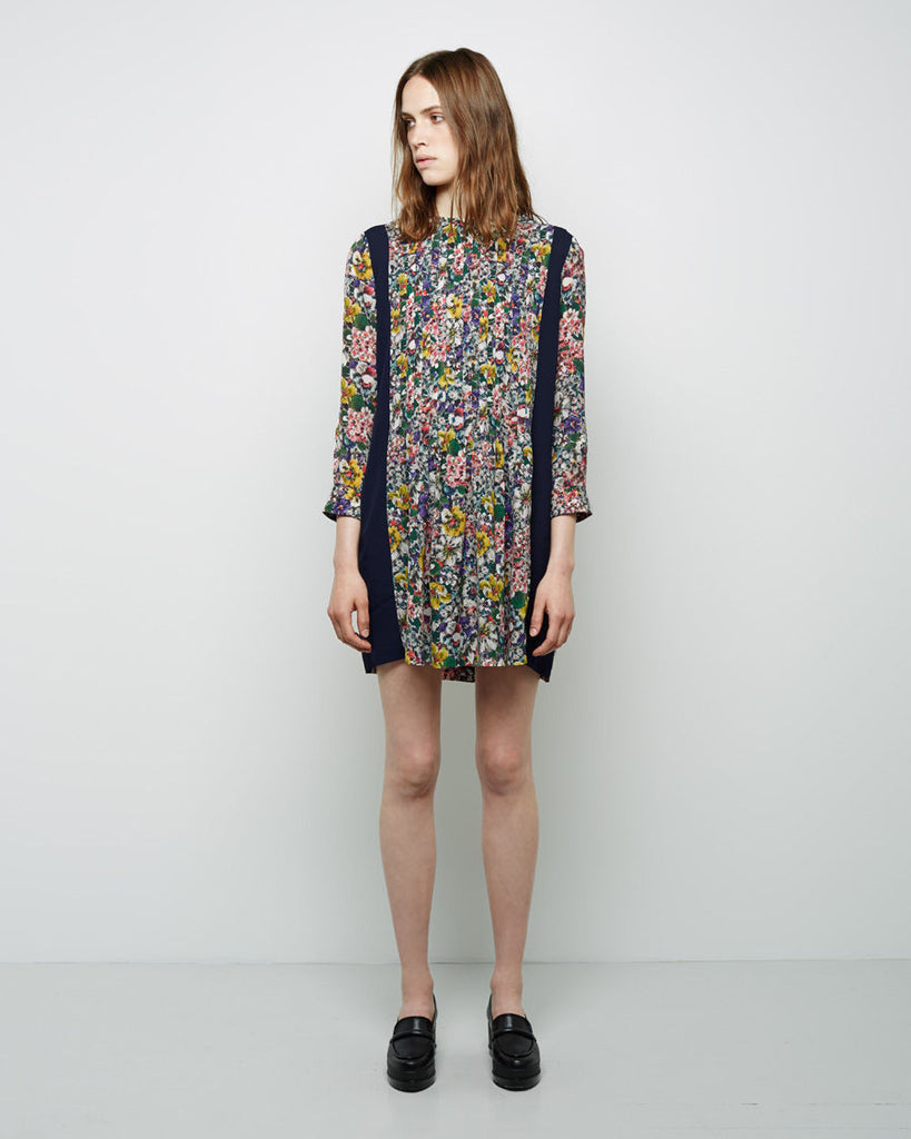 Floral Blocked Trapeze Dress