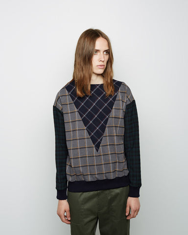 Mixed Plaid Sweatshirt