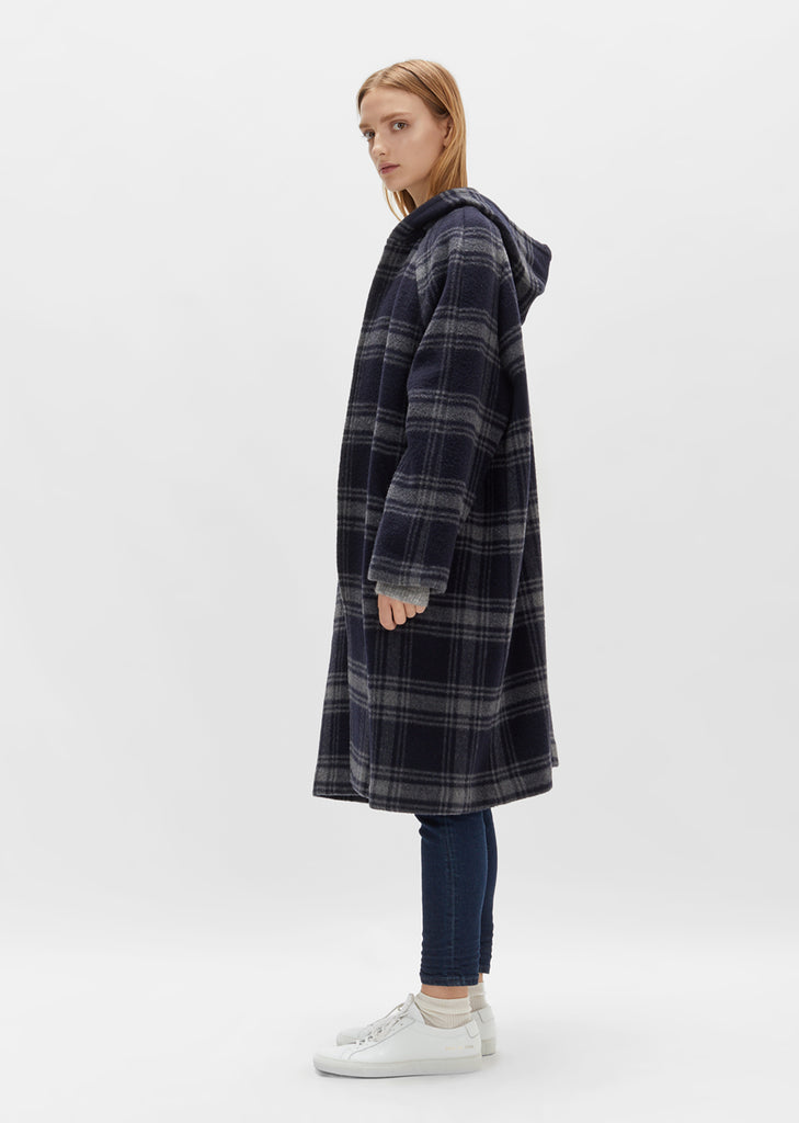 Plaid Hooded Wool Coat
