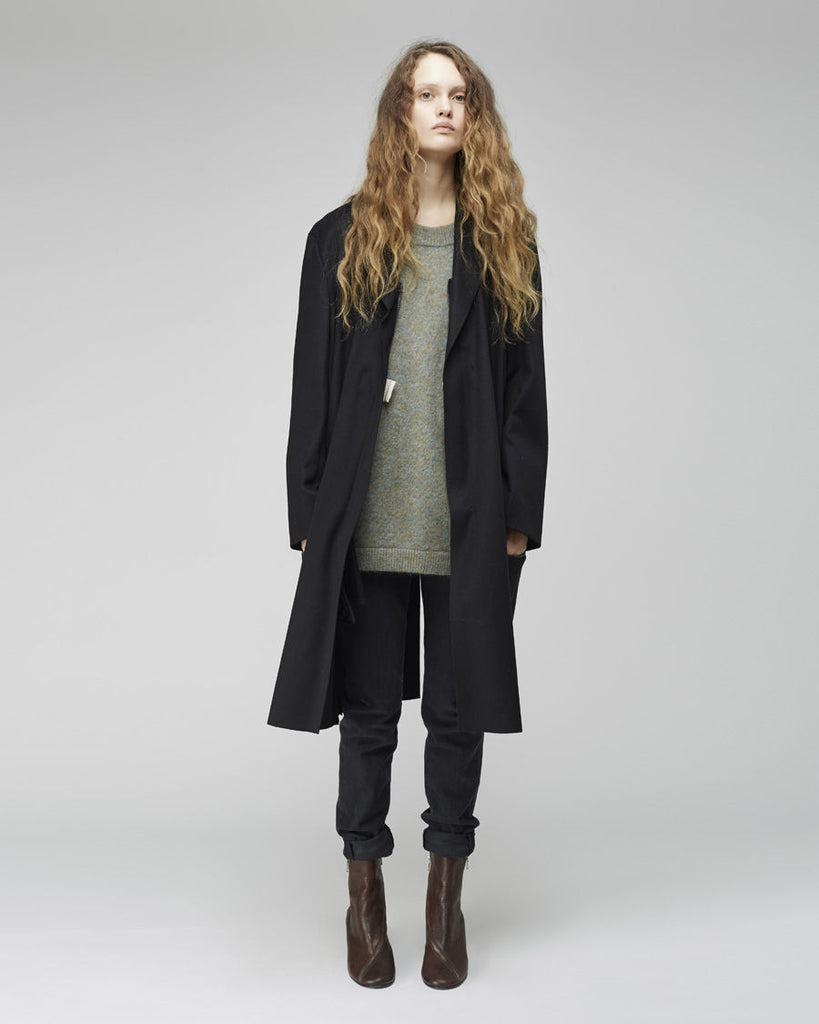 Long Melton Wool Coat