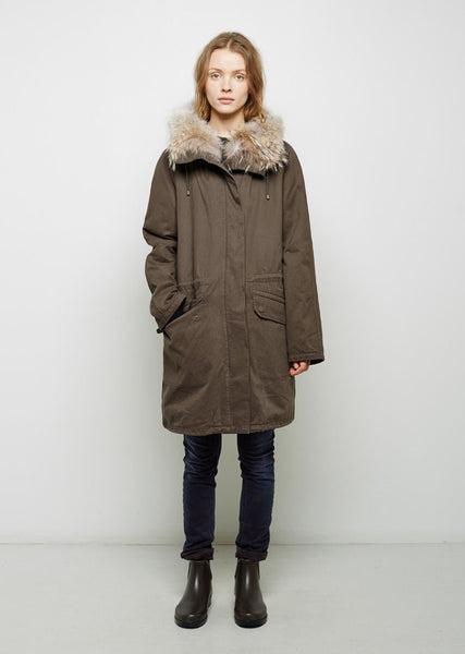 Army by Yves Salomon Coyote Fur-Lined Cotton Parka La Garconne