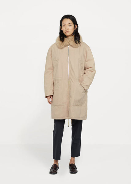 Army by Yves Salomon Cotton Coat Fox Collar La Garconne