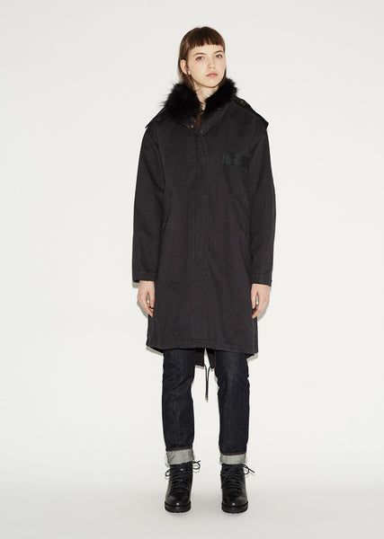 Raccoon Fur-Lined Fishtail Parka