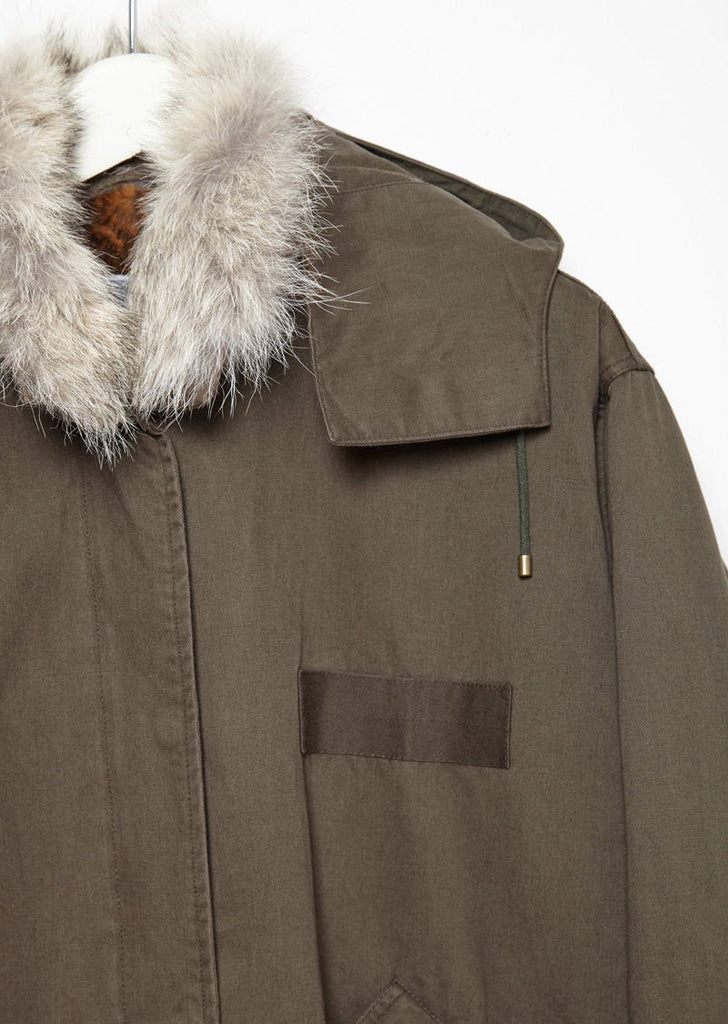 Coyote Fur-Lined Fishtail Parka