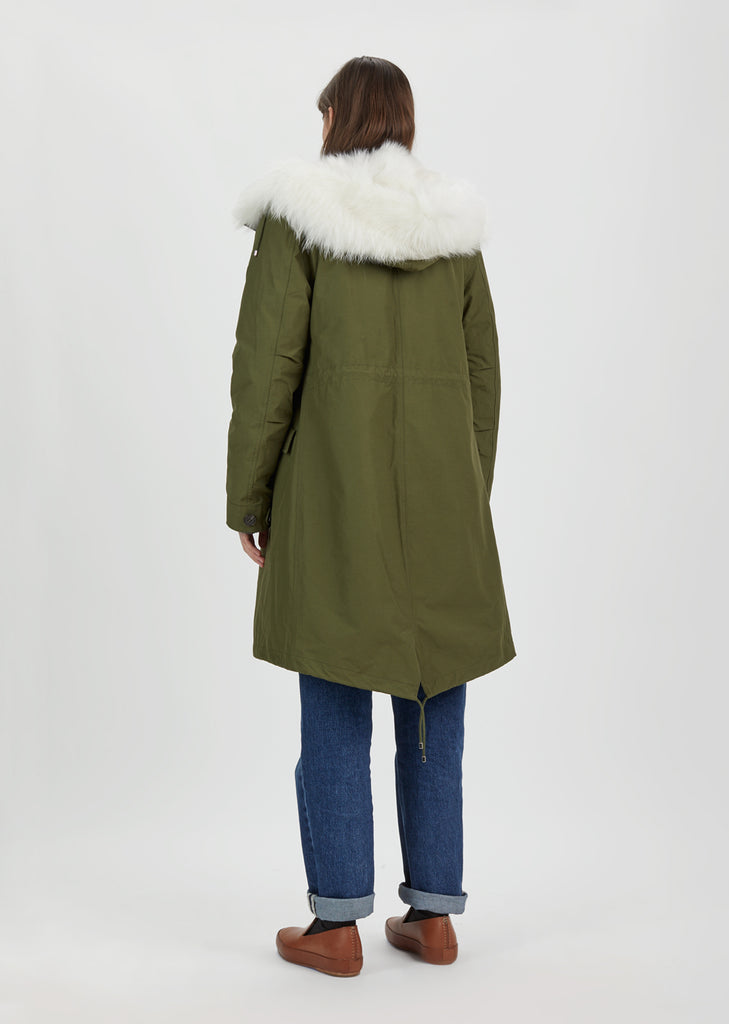 Cotton Canvas Fox Fur Jacket