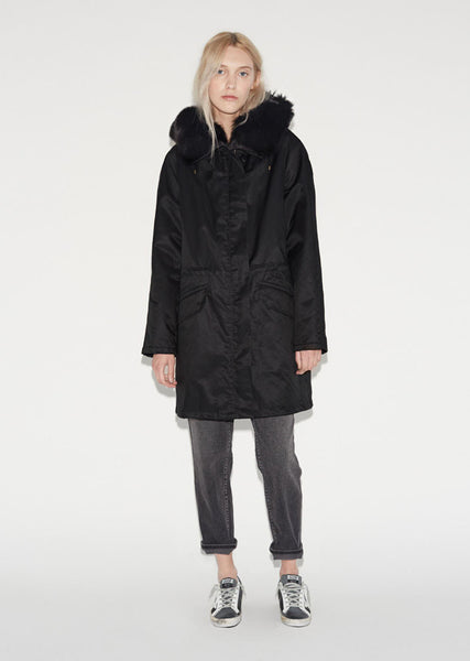 Army by Yves Salomon Garbardine Rabbit Fox Hood Parka La Garconne