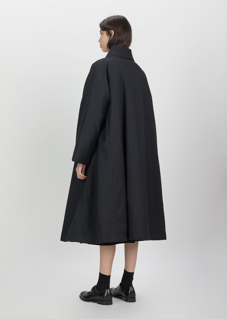 Quilted Wool Polyester Long Coat