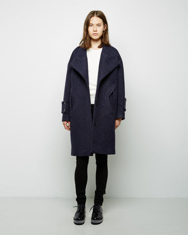 Crushed Wool Cocoon Coat