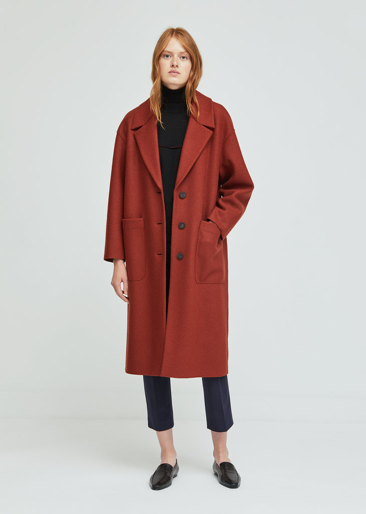Pressed Wool Oversized Patch Pocket Coat