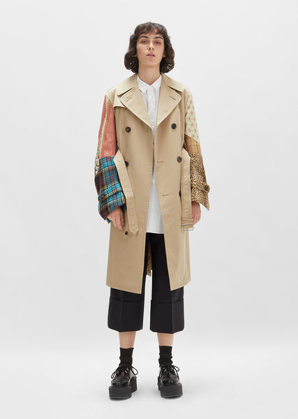Cotton Patchwork Trench Coat