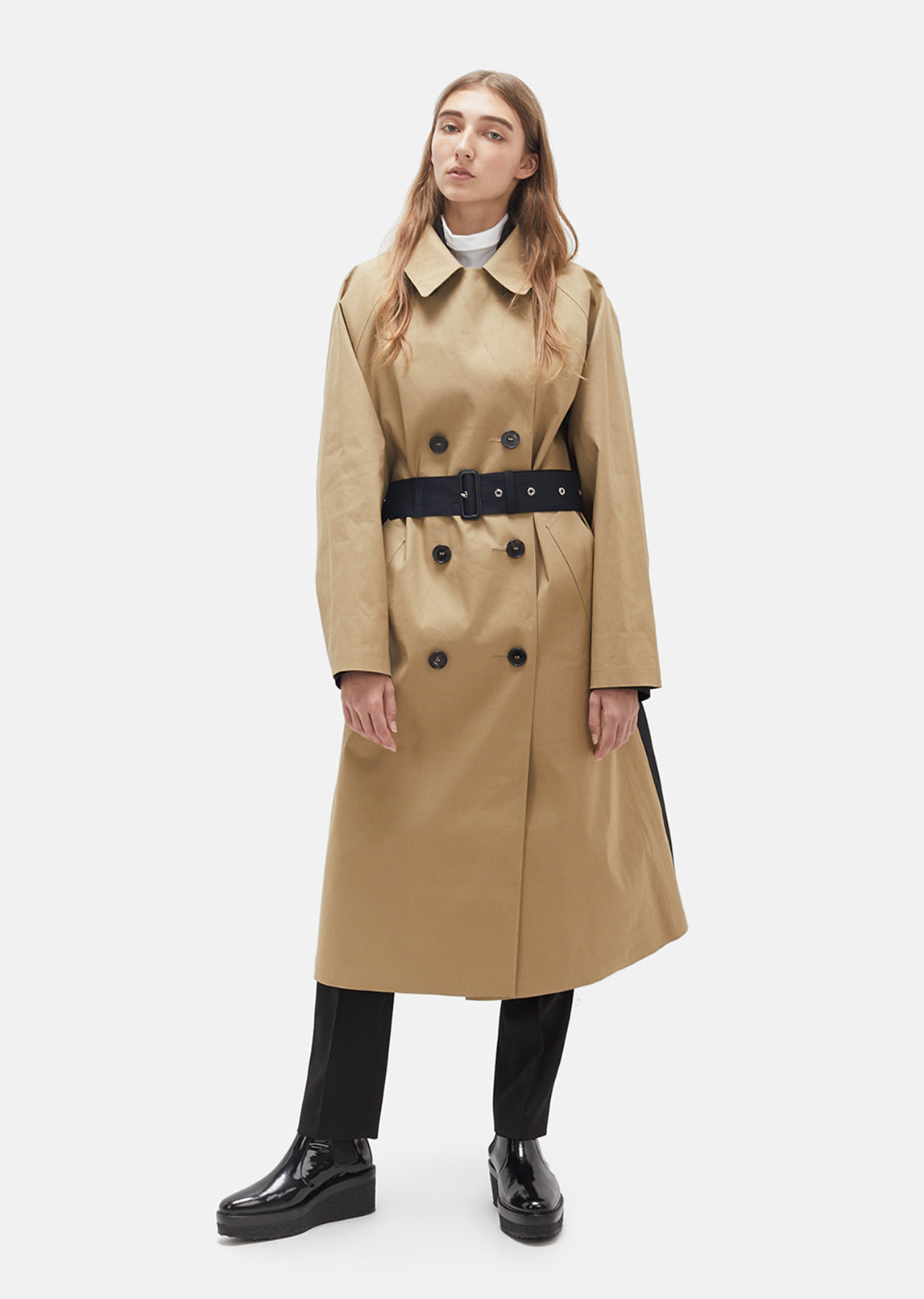 Color Blocked Trench Coat