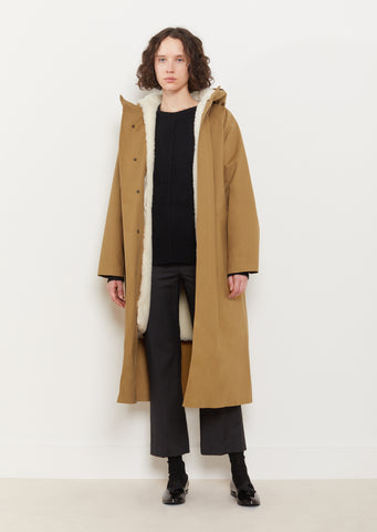 Hooded Removable Lamb Fur Lined Coat