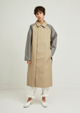 Single Breasted Color Blocked Trench Coat