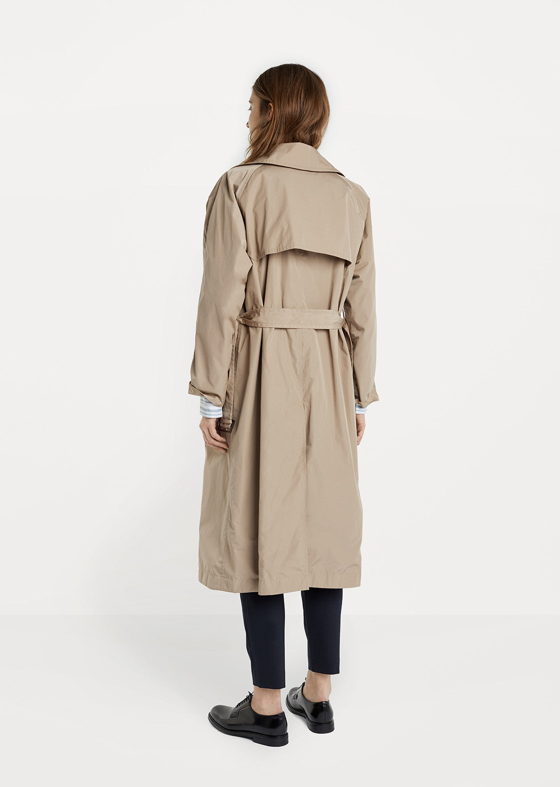 Nylon Double Breasted Trench