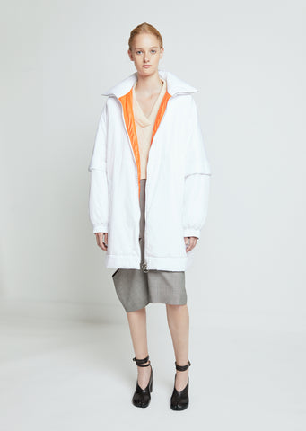 Water Repellent Nylon Coat with Contrast Lining