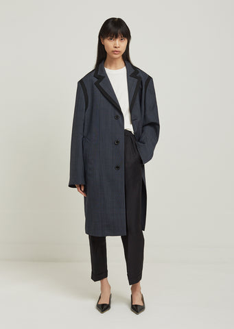 Over Check Wool Coat