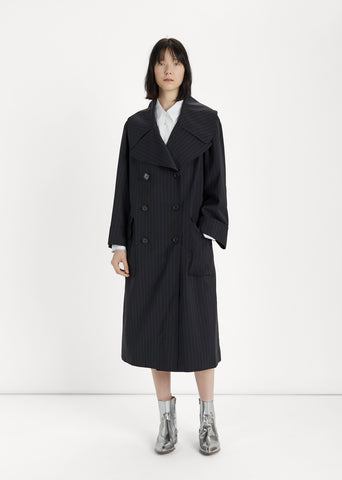 Pin Striped Wool Coat