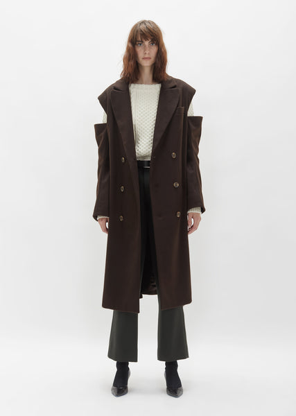 Cut Out Wool Overcoat