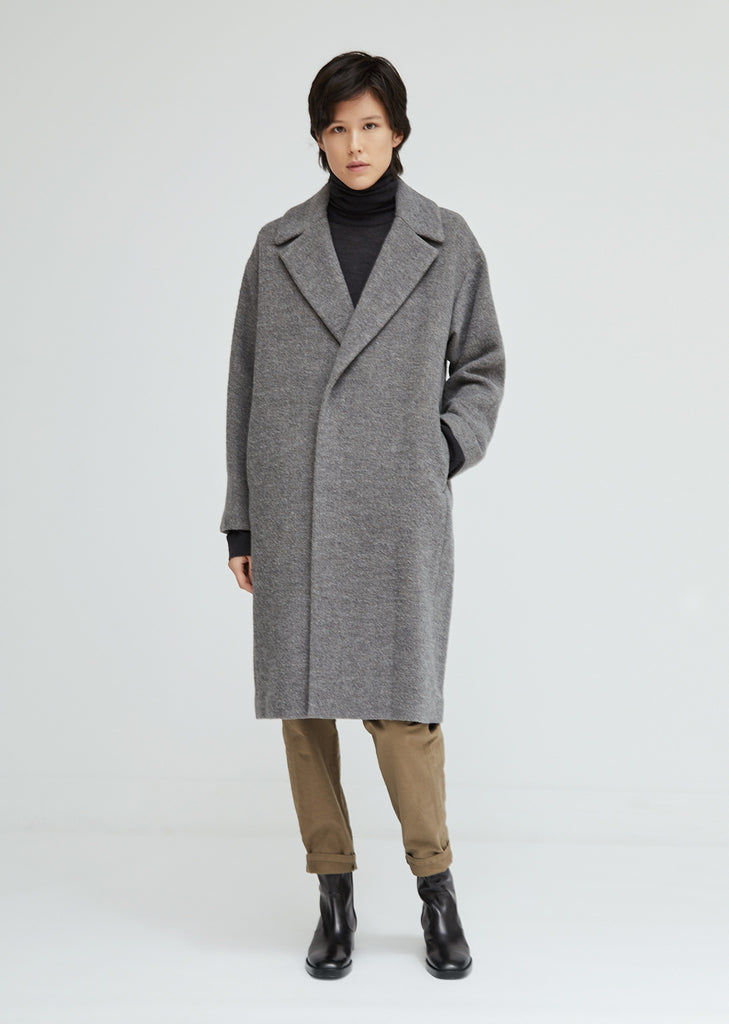 Wool Single Breasted Cocoon Coat