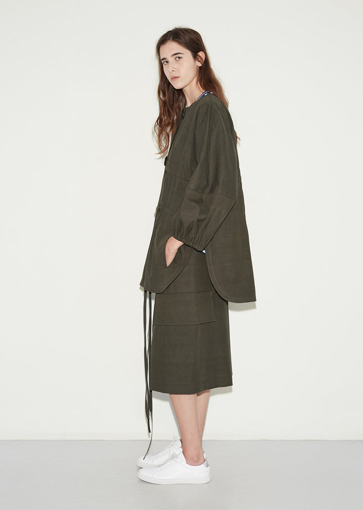 Double Tie Round Collar Coat