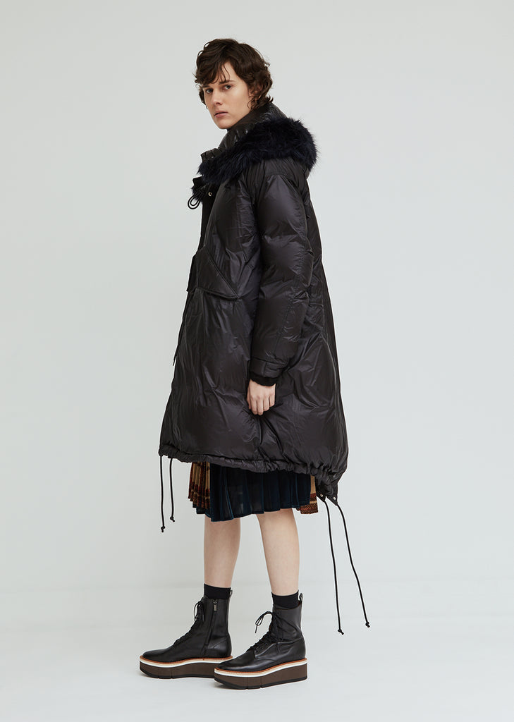 Down Coat With Faux Fur Trim