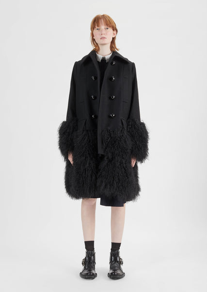 Melton Wool Shearling Coat