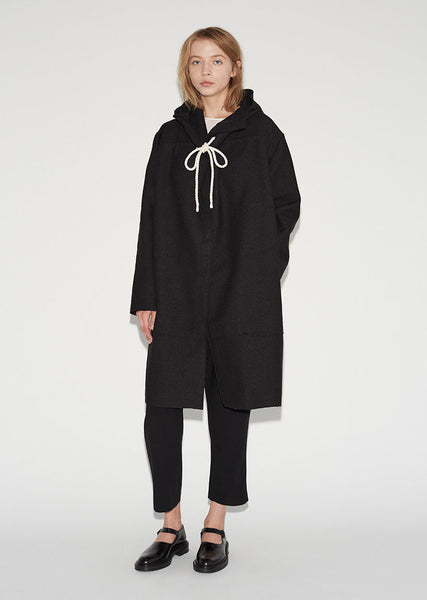 Wool Cotton Hooded Coat