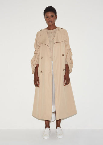 Collarless Tie Sleeve Coat