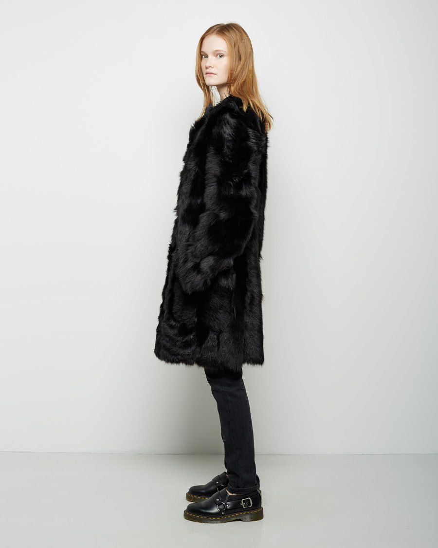 Shearling Coat with Bauble Buttons
