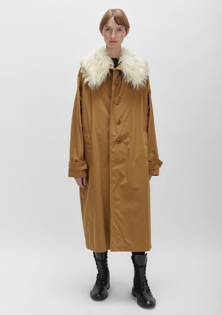 Cotton Twill Fur Collar Trench Coat
