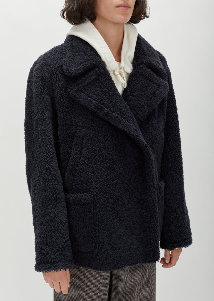 Double Breasted Shearling Coat