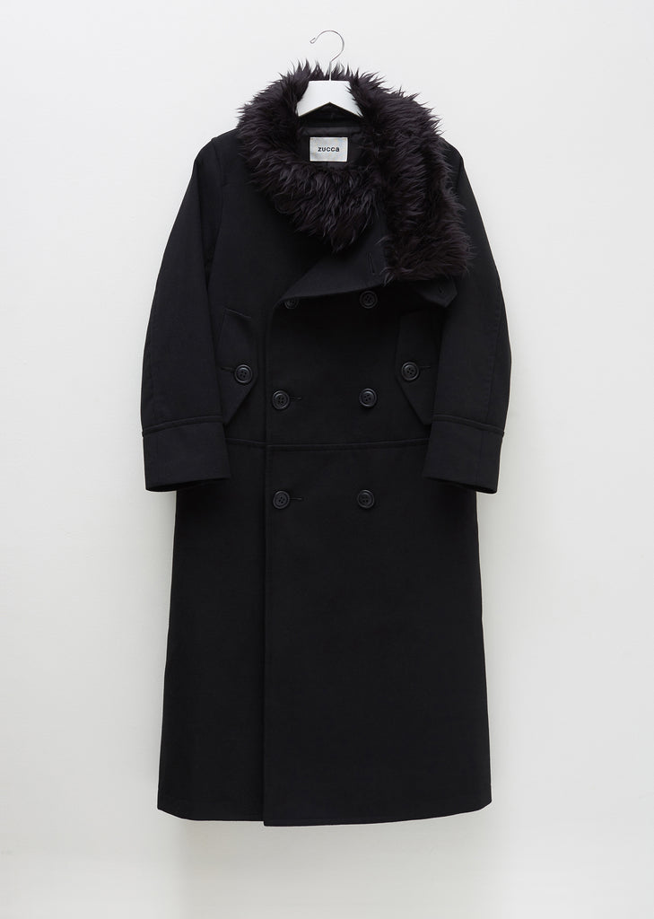 Light Melton Stand Up Collar Long Coat