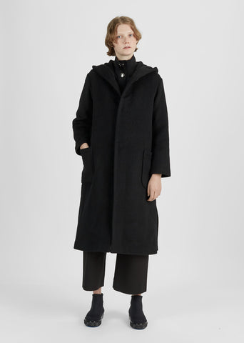 Bonded Wool Hooded Coat